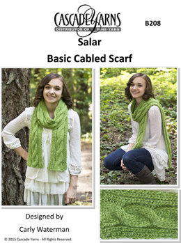 Basic Cabled Scarf in Cascade Salar - B208