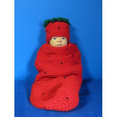 Strawberry Cocoon/Hat Set