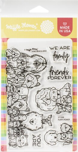 """Waffle Flower Crafts Clear Stamps 4""""X6"""" - Puppy Power"""
