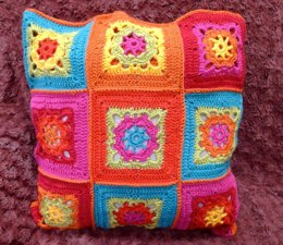 Primary Colours Crocheted Cushion