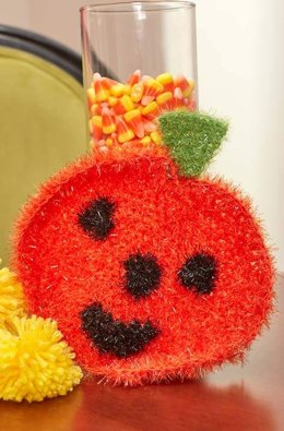 Jack o'Latern Scrubby in Red Heart Scrubby Sparkle - LW5391 - Downloadable PDF