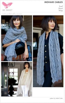Mohair Cables Scarf and Shawls in Be Sweet Medium Brushed Mohair