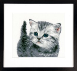 Vervaco Grey Tiger Kitten Cross Stitch Kit -  21cm x 20cm