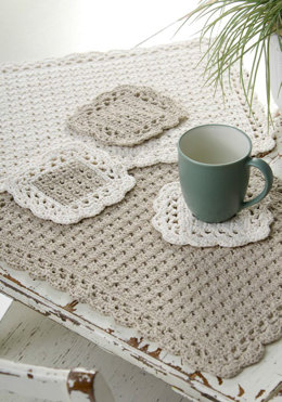 Options Placemat & Coaster in Red Heart Eco-Cotton Blend Solids - WR1836 - Downloadable PDF