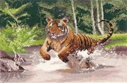 Heritage Crafts Tiger, 14 count Aida Cross Stitch Kit - Multi