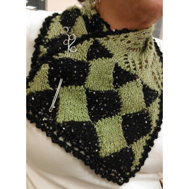 Entrelac Edged Triangle Lace Cowl with Pin