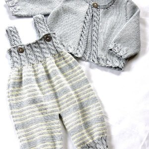 3f62ec922f82 Baby Overalls with detailed cabled bodice and matching sweater ...