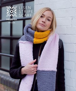 MillaMia Naturally Soft Super Chunky Lisen Stripe Scarf 8 Ball Project Pack