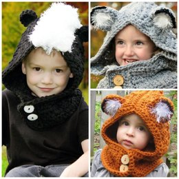 Woodland Friends Hooded Cowl (Fox/Skunk/Wolf)