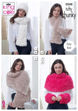Scarf, Wrap, Thread Through Scarf, Shoulder Cover, Hat & Wrist Warmers in King Cole Tufty Chunky - 5048 - Downloadable PDF
