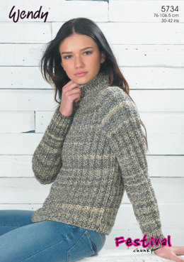 Mock Fisherman Rib Sweater in Wendy Festival Chunky - 5734