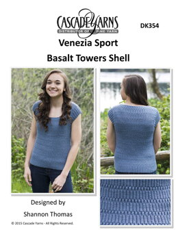 Basalt Towers Shell Sweater in Cascade Yarns Venezia Sport  - DK354 - Downloadable PDF