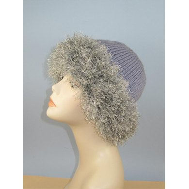 Faux Fun Fur Trim Beanie Hat