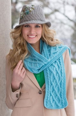 Cable Your Scarf in Red Heart With Love Solids - LW4282