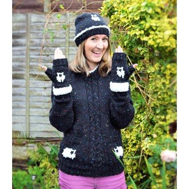 Ladies Sheep Sweater, Hat and Gloves