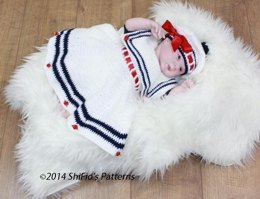 Sailor Dress Baby Crochet Pattern #184