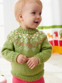 Girls' Garden Flowers Fair Isle Yoke Sweater in Caron Simply Soft Collection & Simply Soft - Downloadable PDF
