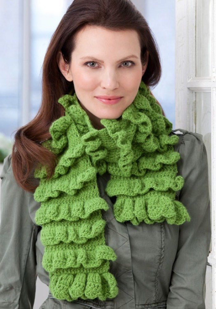 Rows Of Ruffles Scarf In Red Heart Shimmer Solids Lw2570