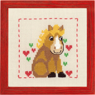 Permin Horse with Hearts Cross Stitch Kit - 19x19cm