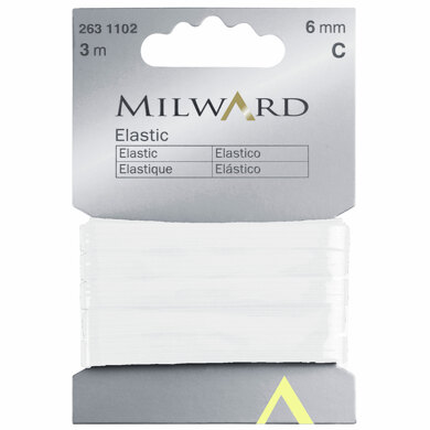 Milward Elastic: 3m x 6mm: White