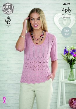 Top and Cardigan in King Cole Bamboo Cotton 4 Ply - 4482 - Leaflet