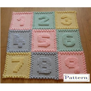 Knitting Pattern Numbers : Numbers Baby Blanket Crochet pattern by Peach.Unicorn Knitting Patterns L...