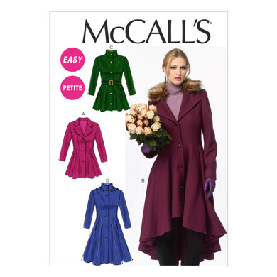 McCall's Misses'/Miss Petite Lined Coats, Belt and Detachable Collar and Hood M6800 - Sewing Pattern