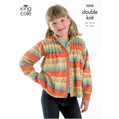 Sweater, Cardigan, Hat & Scarf in King Cole DK - 3245