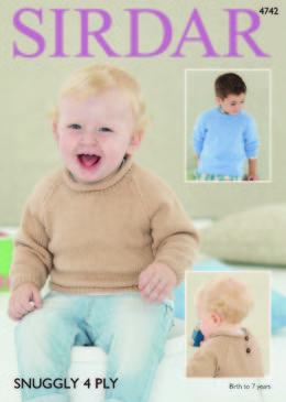 Roll Neck and Round Neck Sweaters in Sirdar Snuggly 4 Ply - 4742