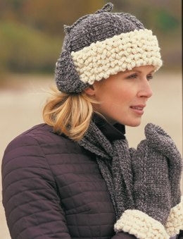 Sheepskin Hat, Scarf & Mittens in Patons Classic Wool Worsted