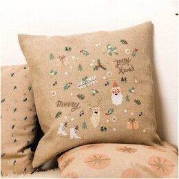 Rico Jolly Christmas Cross Stitch Cushion Kit - 40cm x 40cm