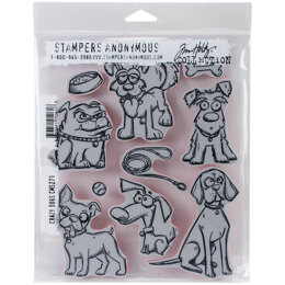 """Stampers Anonymous Tim Holtz Cling Stamps 7""""X8.5"""" - Crazy Dogs"""