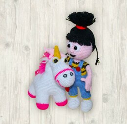 Agnes and the Unicorn Crochet Pattern, Doll Crochet Pattern, Cute Unicorn Crochet Pattern, Girl Crochet Pattern