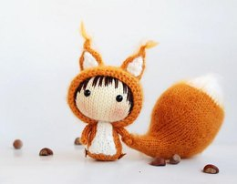 Squirrel Doll with removable tail. Toy from the Tanoshi series.