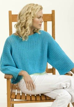 Crochet Turquoise Pullover in Tahki Yarns Cotton Classic