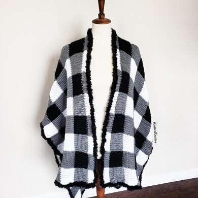 Luxury Plaid Tunisian Poncho