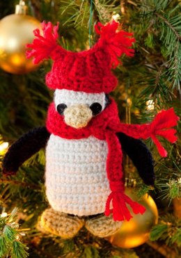 Little Penguin Ornament in Red Heart Soft Solids - LW2659