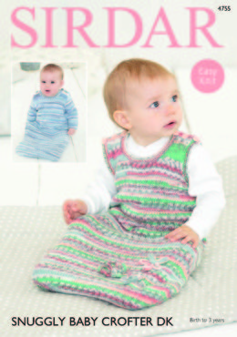 Long Sleeved and Sleeveless Sleeping Bag in Sirdar Snuggly Baby Crofter DK - 4755