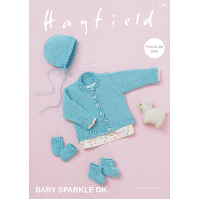 Cardigan, Bonnet, Bootees & Mittens in Hayfield Baby Sparkle DK - 4718 - Downloadable PDF