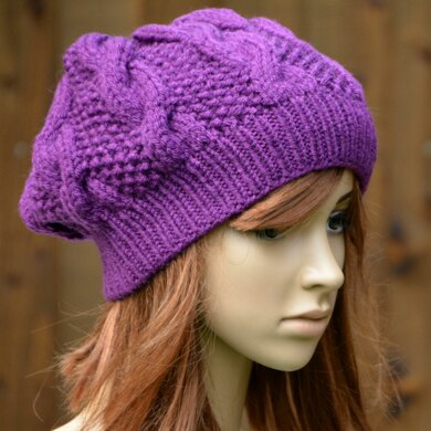 Womens Slouchy Cable Beanie KPWS11 in Stylecraft Life Chunky