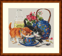 Merejka Kittens and Milk Cross Stitch Kit - 23cm x 20cm