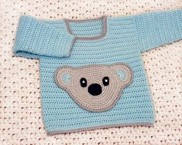 CROCHET Baby Sweater with Bear Pocket - 3 sizes