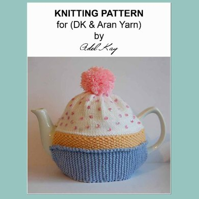 Chloe Cupcake Birthday Cake Vintage DK Yarn Teapot Tea Room Cosy Knitting Pattern by Adel Kay