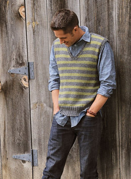 Men's Striped Vest in Blue Sky Fibers Sport Weight and Melange - Downloadable PDF