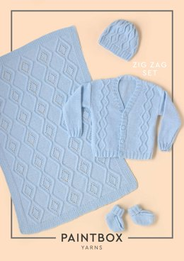 """Zig Zag Set"" - Free Accessory Knitting Pattern - Accessory Knitting Pattern in Paintbox Yarns Baby DK"