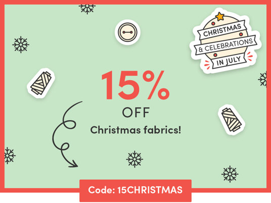 15 percent off Christmas fabrics! One day only! Code: 15CHRISTMAS