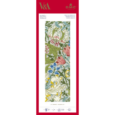 DMC The V&A - Golden Lily - J.H. Dearle Bookmark - 6cm x 19.5cm