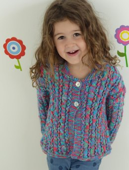 Girls Cable & Lace Cardigan in Ella Rae Cozy Soft Print - ER-1042 - Leaflet
