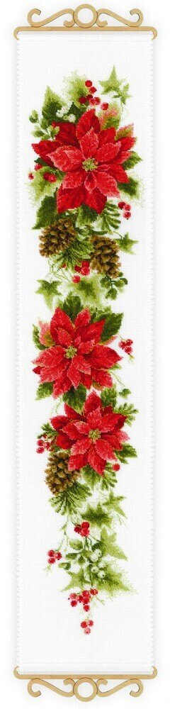 Riolis Poinsettia Banner Cross Stitch Kit
