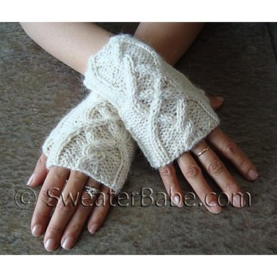 110 One Skein Cabled Fingerless Gloves Knitting Pattern By